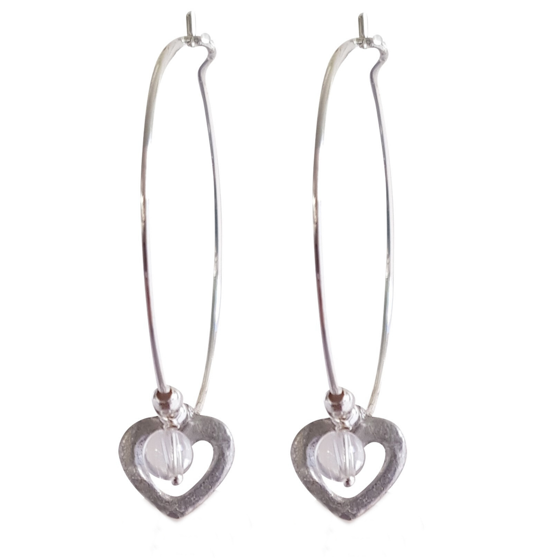 LOVEbomb Hoop and Charm Earrings on Sterling Silver Hooks