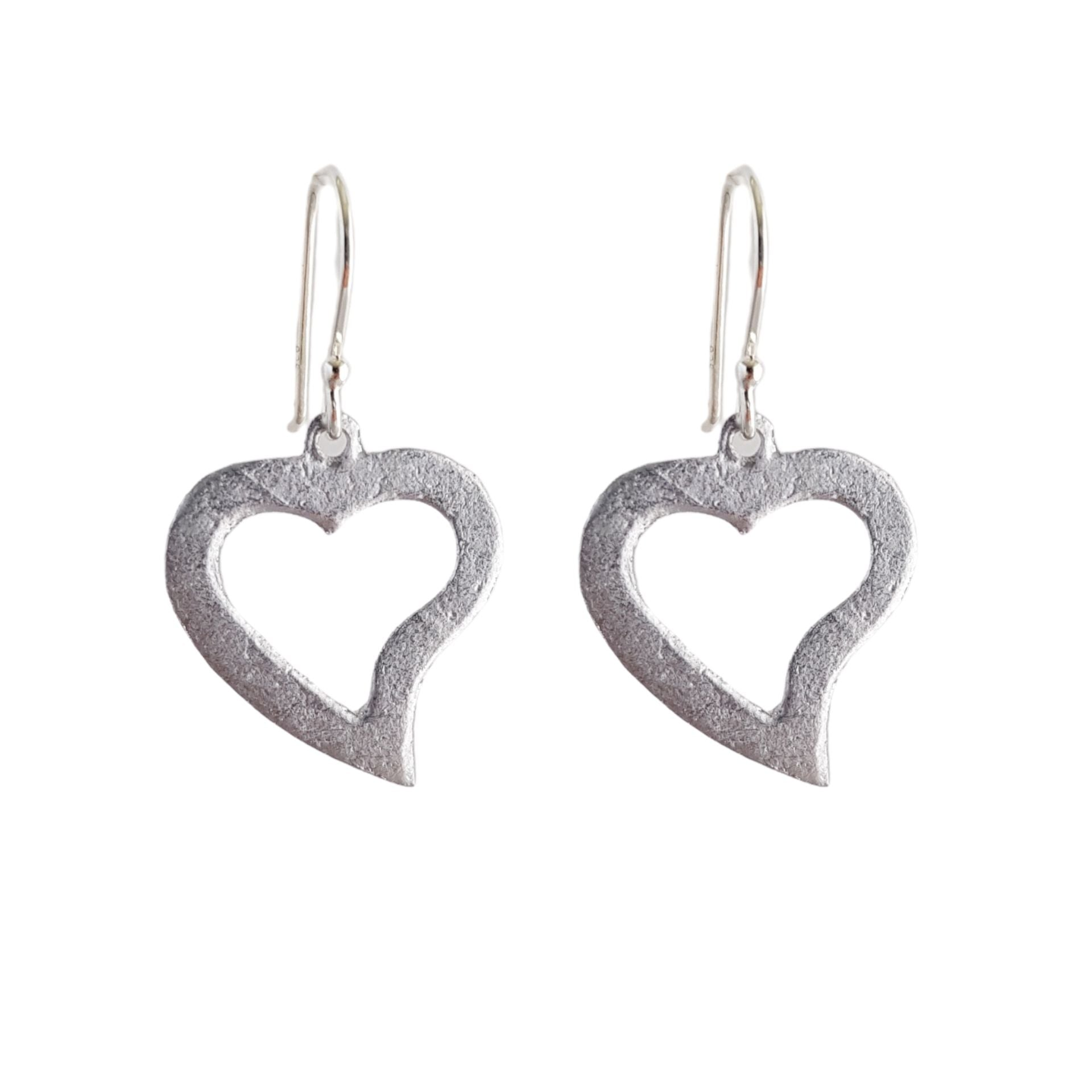LOVEbomb Heart Cut Out Sterling Silver Drop Earrings