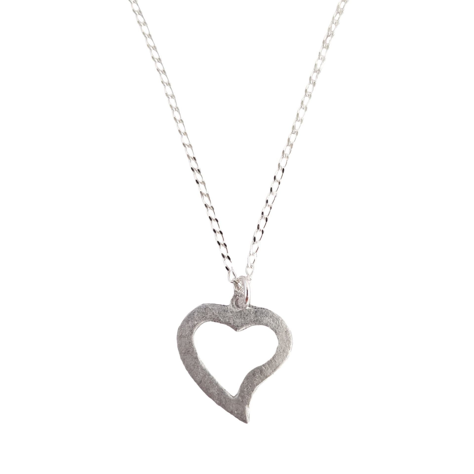 LOVEbomb Heart Cut Out Shape Pendant on Sterling Silver Chain