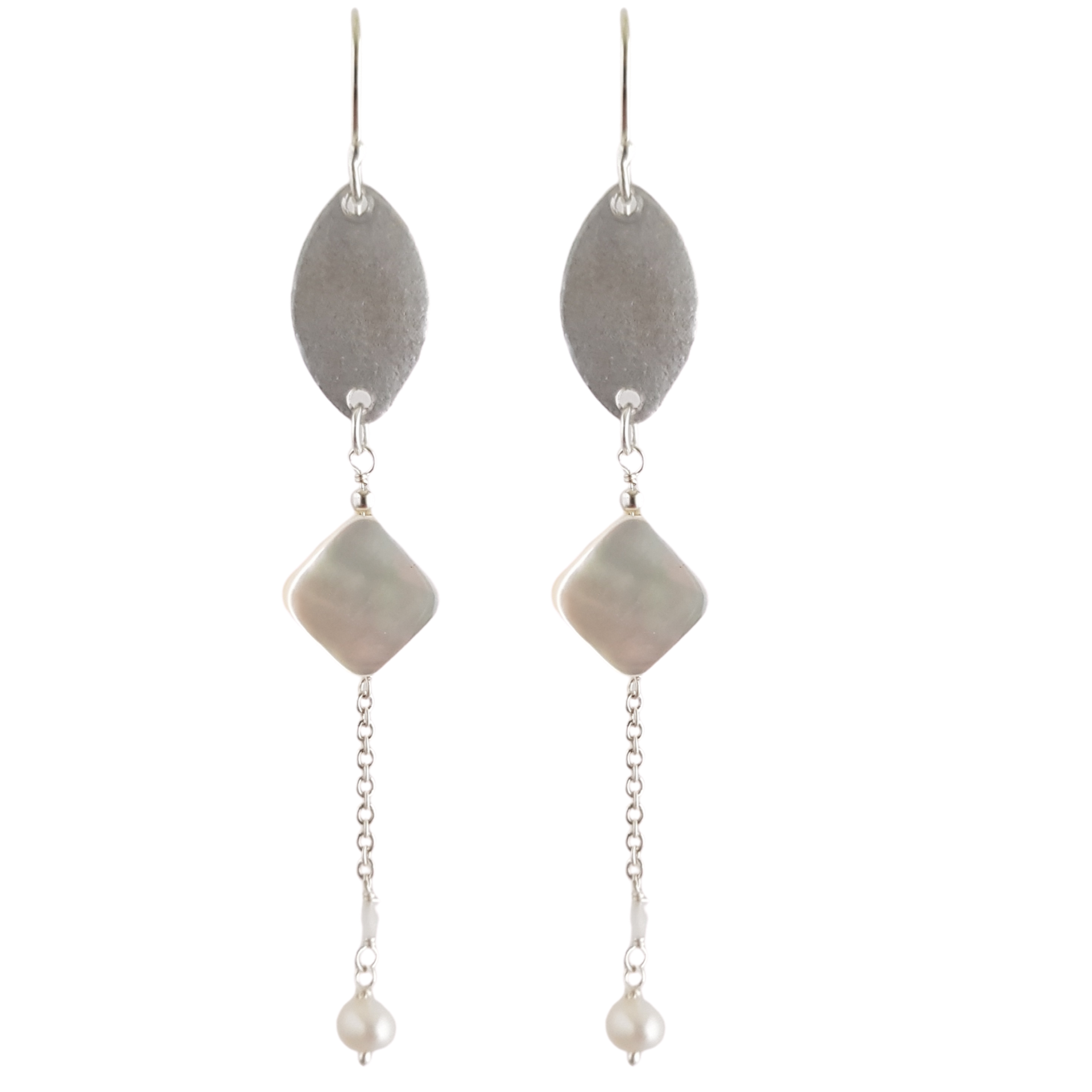 LOVEbomb Moonstone and Leaf Multi Drop Sterling Silver Hook Earrings