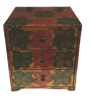 "Chest of 3 Drawers Lacquered Jewellery Box  - ""Light Fireworks"" design"