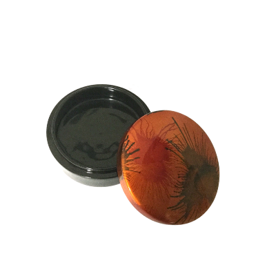 Lacquered Round Trinket Box - Painted Light Fireworks Design
