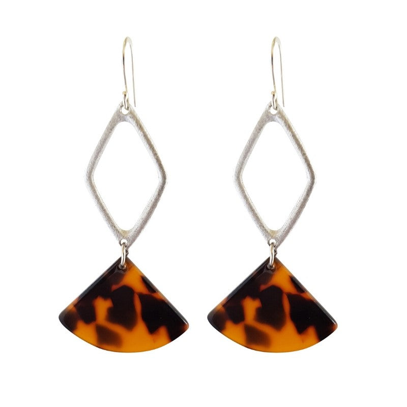 LOVEbomb Tortoiseshell and Silver Drop Earrings
