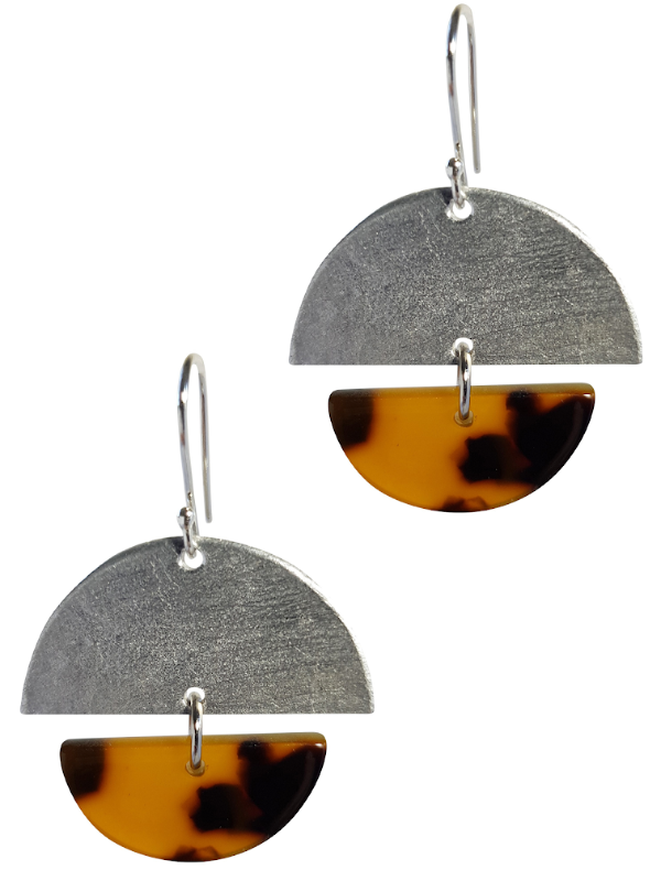 LOVEbomb Half Moon Tortoiseshell and Silver Drop Earrings