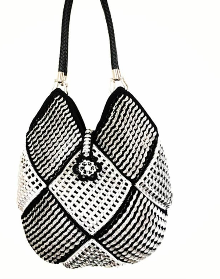 "Solene M ""Mosaic"" Silver and Black Bag, made from recycled Can Pull Tabs"