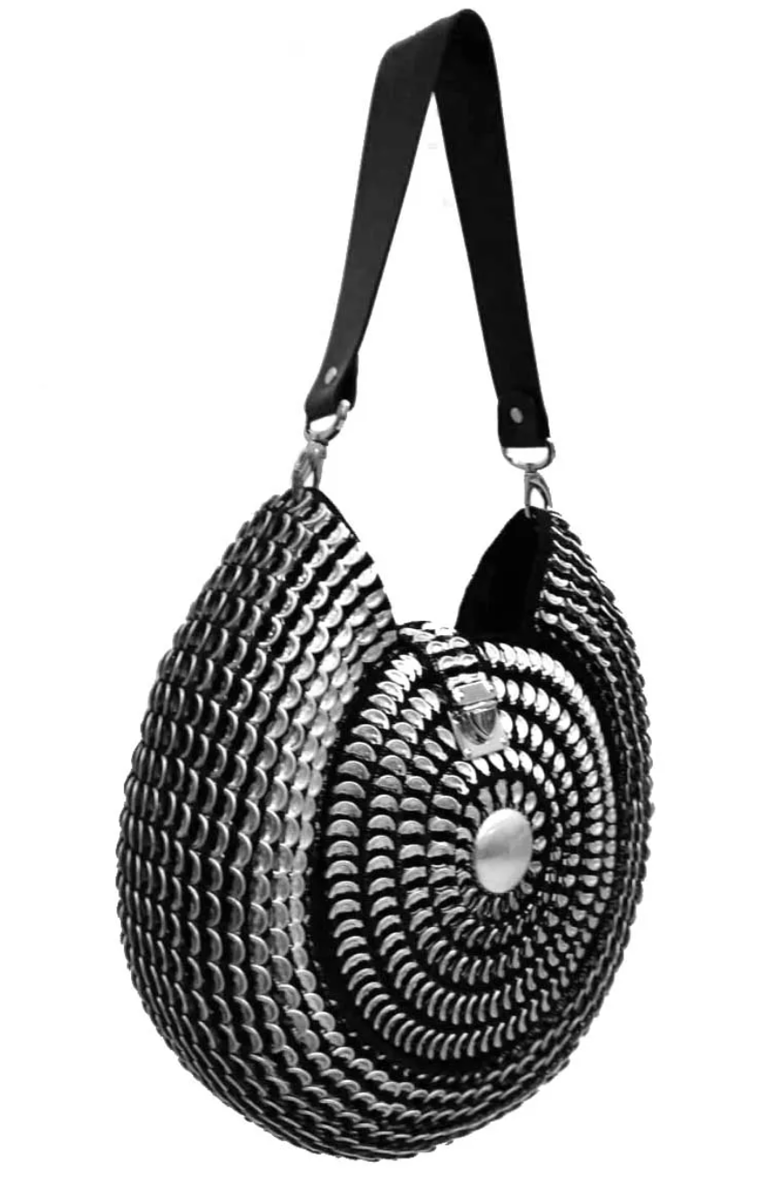 "Solene M ""Oasis"" Snail Shaped Black and Silver Bag, made from recycled Can Pull Tabs"