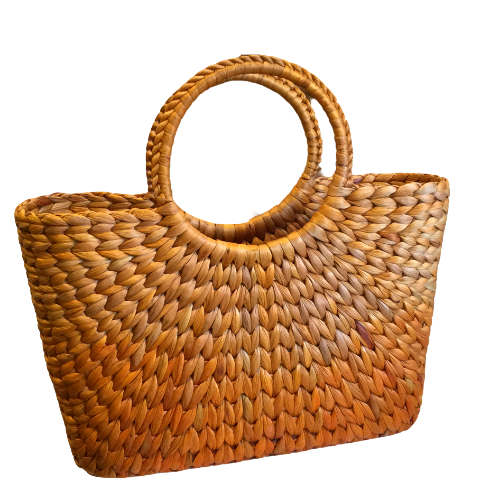 Rokhak Water Hyacinth handwoven Orange Shopping Basket Bag