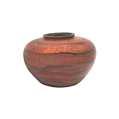Round Painted Lacquerware Vase - Orange and Black Tree Bark Design
