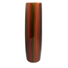 Small Lacquerware Painted Vase - Orangey Red Striped Design