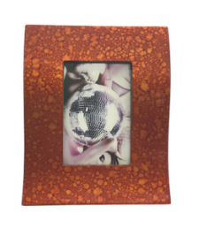 Wave Shaped Lacquerware Photo Frame - Orange Droplets design