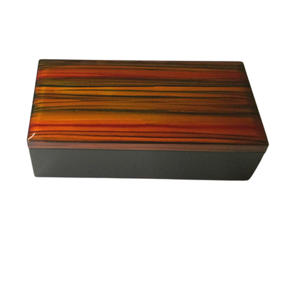 Decorative Box with Separate Lid - Orange and Red Striped Painting