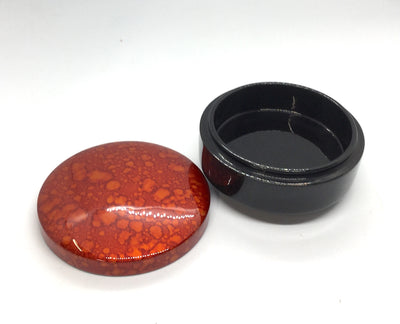 Orange Round Lacquerware Trinket Box - Water Droplets painting