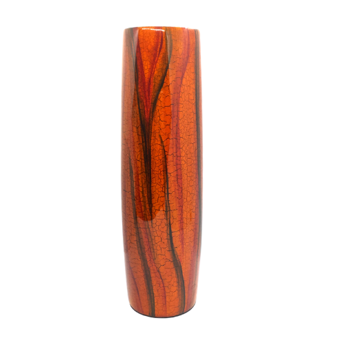 Small Lacquerware Painted Vase - Orange Tree Bark Design
