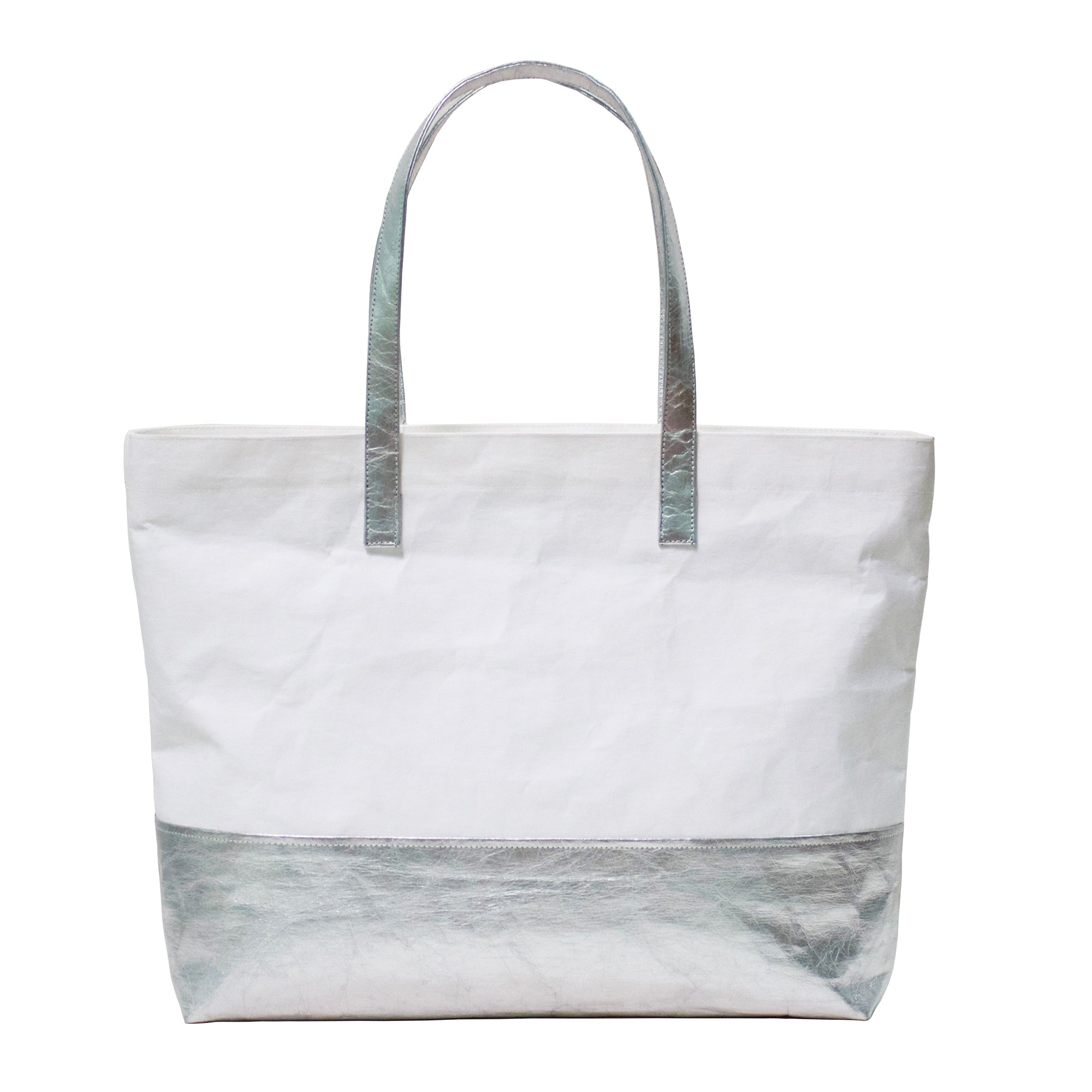 Phaedra Two-Tone Metallic Washable Paper Tote Bag