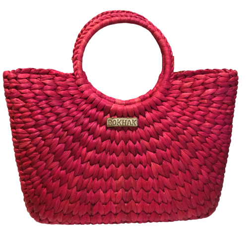 Rokhak Water Hyacinth handwoven Pink Shopping Basket Bag