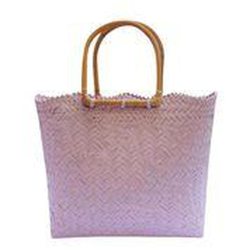 Lilac Coloured Handwoven Basket Bag with Wooden Handles