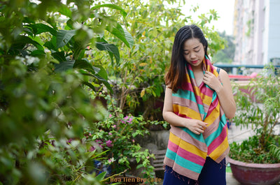 Hoa Tien Brocade Striped and Fringed Silk Scarf