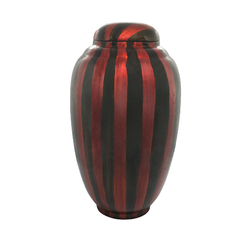 Painted Striped Lacquerware Ginger Jar