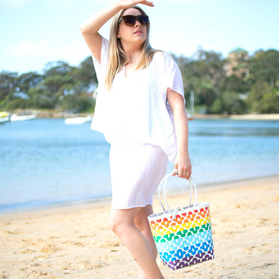 Rainbow and White Striped Handwoven Basket Style Tote Bag - choose your size