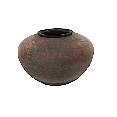 Red and Black Painted Round Vase