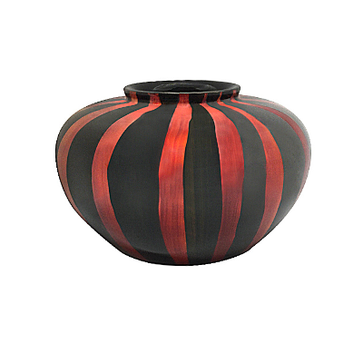 Round Painted Lacquerware Vase - Red and Black Striped Design