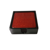 Set of 6 Red Lacquerware Drink Coasters in a black presentation box