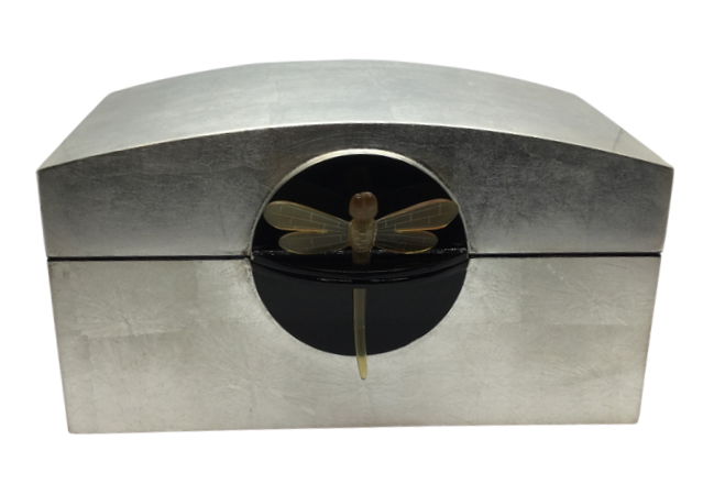 Silver Jewellery Box with Hinged Lid, featuring a Dragonfly Key
