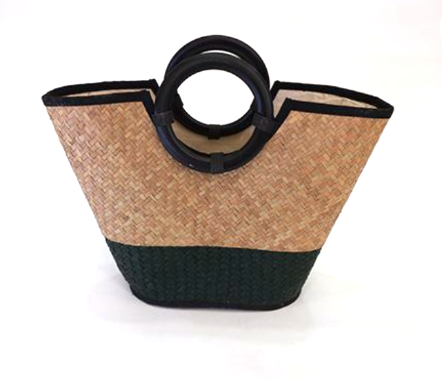 Monochrome Black and Natural Coloured Seagrass Basket Bag