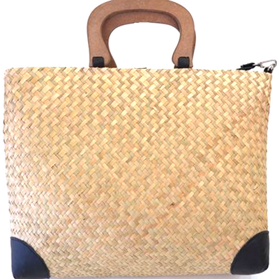 Natural Coloured Seagrass Shoulder Bag with Detachable Strap