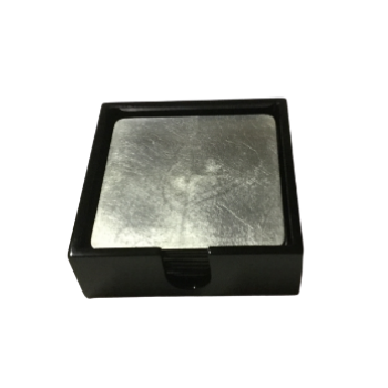 Set of 6 Silver Lacquerware Drink Coasters in a black presentation box