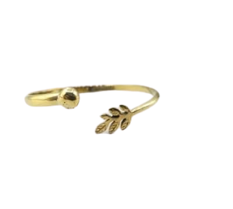 Recycled Brass Bracelet with Small Leaf Feature