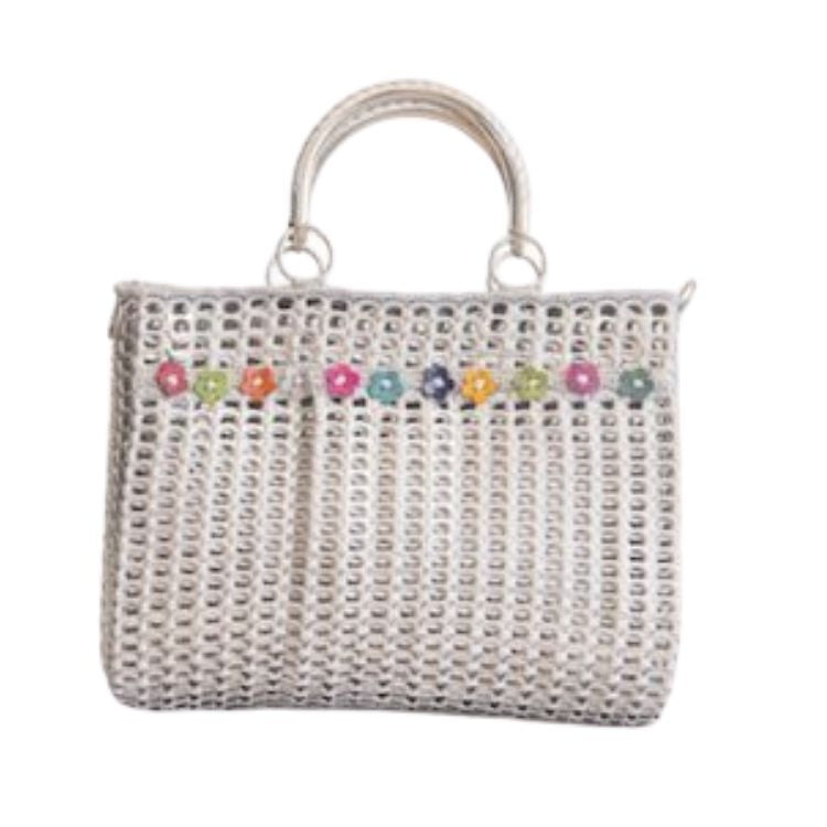 "Solene M ""Precious"" Silver Handbag with Flowers, made from recycled Can Pull Tabs"