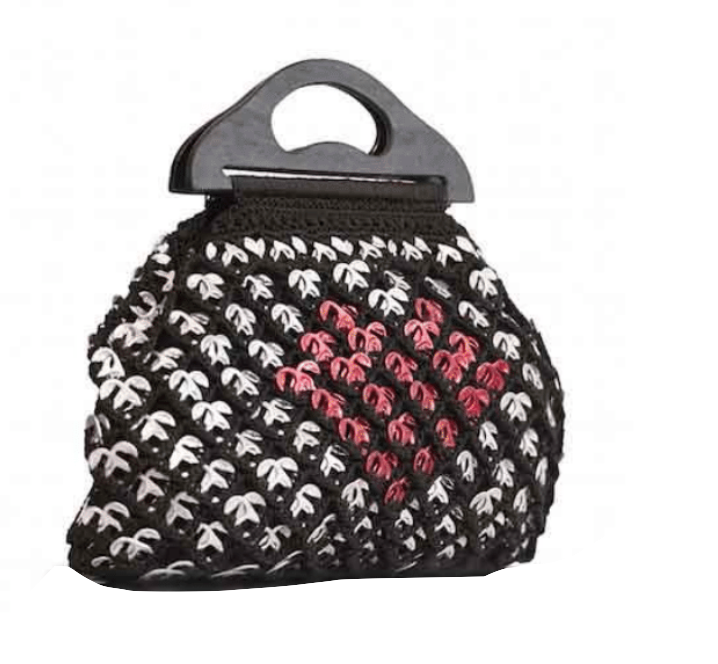 "Copy of Solene M ""In Love"" Black Handbag made from recycled Can Pull Tabs"