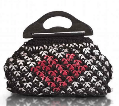 "Solene M ""In Love"" Black Handbag made from recycled Can Pull Tabs"
