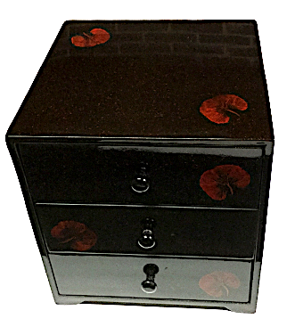 "Chest of 3 Drawers Lacquered Jewellery Box  - ""Summer Flowers"" design"