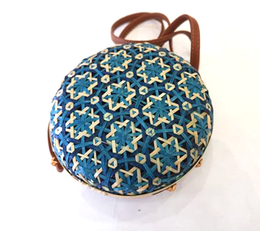 Unique Teal Blue and Natural Circle Basket Shoulder Bag / Cross Body Bag