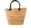 Water Hyacinth Basket Bag with Black Handles