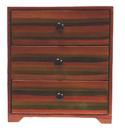 Chest of 3 Drawers Lacquered Red Jewellery Box  - Stripe design