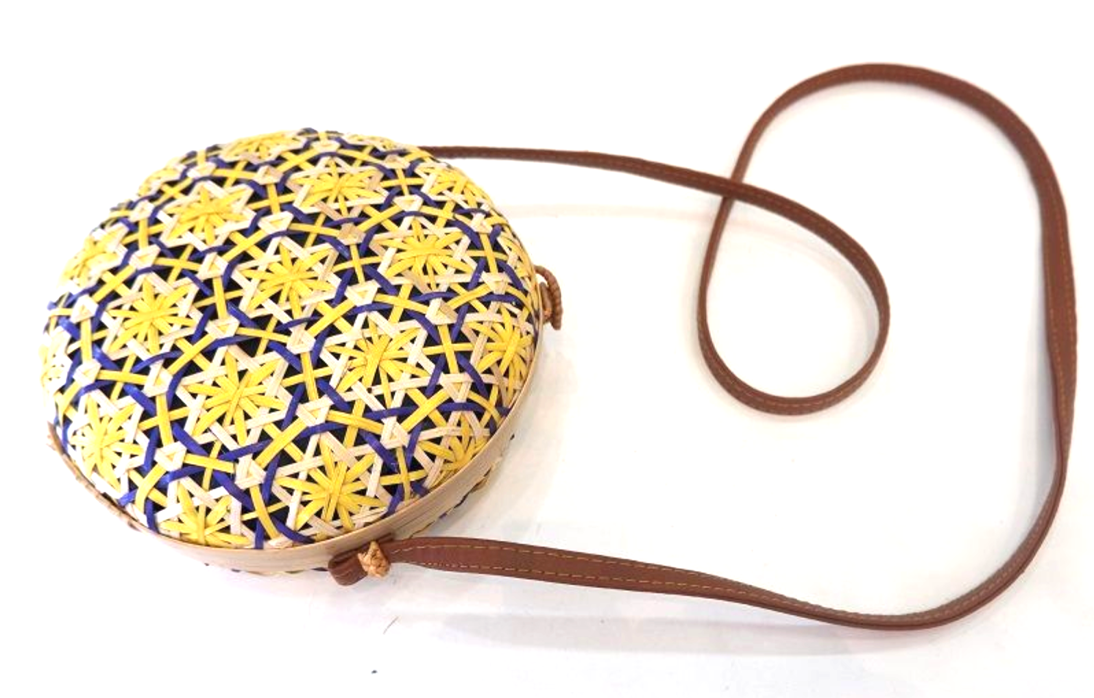 Unique Purple and Yellow Circle Basket Shoulder Bag / Cross Body Bag