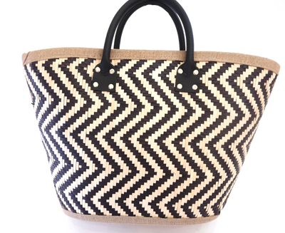 Black and Natural Coloured Shopping Basket crafted from Palm Leaf
