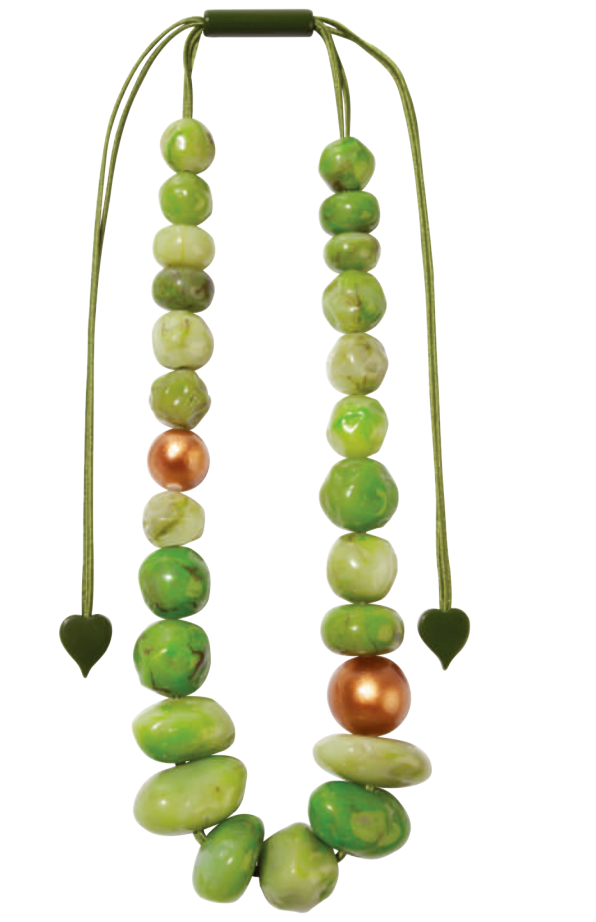 Zsiska Capri Two Tone Green and Copper Beaded Adjustable Necklace