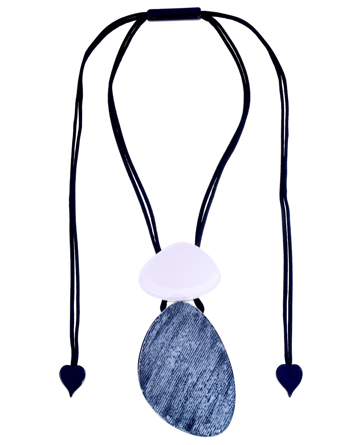 Zsiska Chambray Blue and White Pendant Necklace