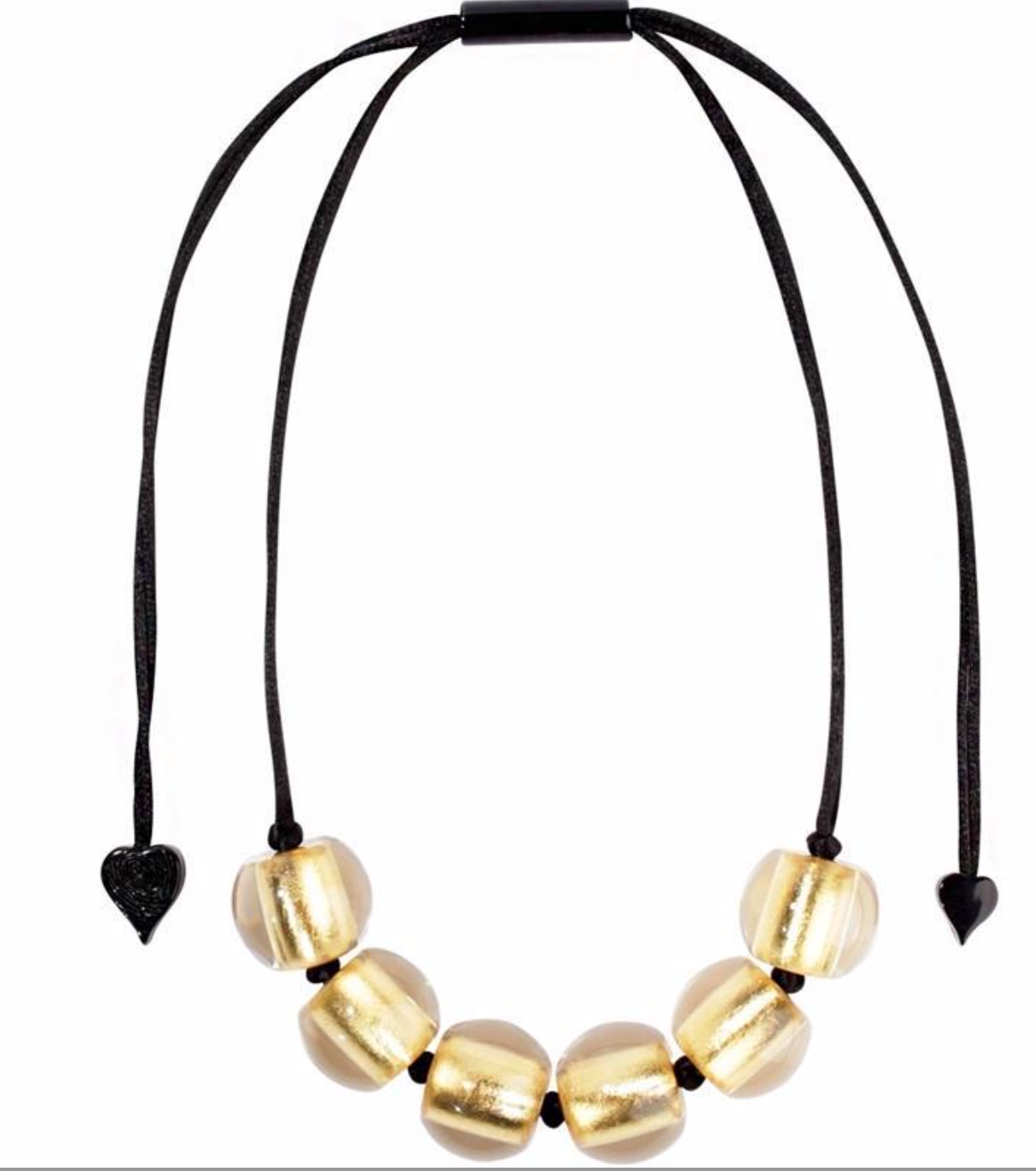 Zsiska Precious Gold Bead Necklace on an Adjustable Rope