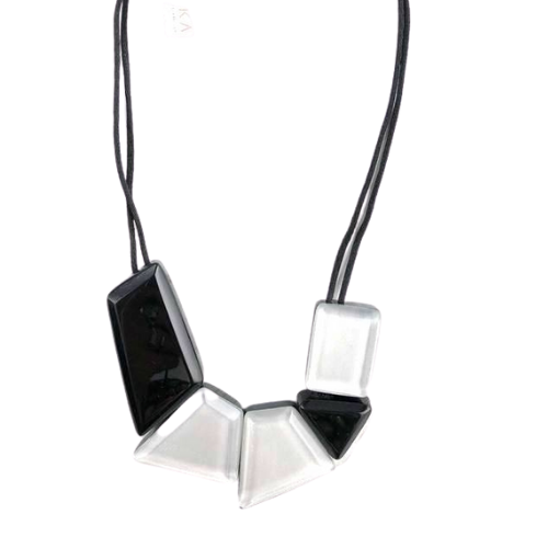 Zsiska Reflection Black and Silver Short Necklace