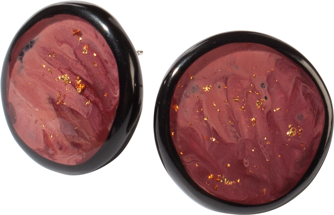 Zsiska Sky Dusty Pink and Gold Leaf Clip On Earrings