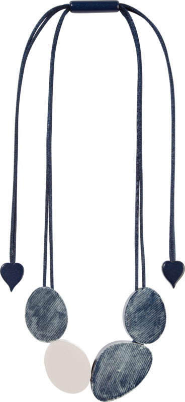 Zsiska Chambray Blue and White Necklace