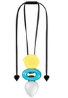 Zsiska Chorus Triple Beaded Turquoise and Yellow Pendant
