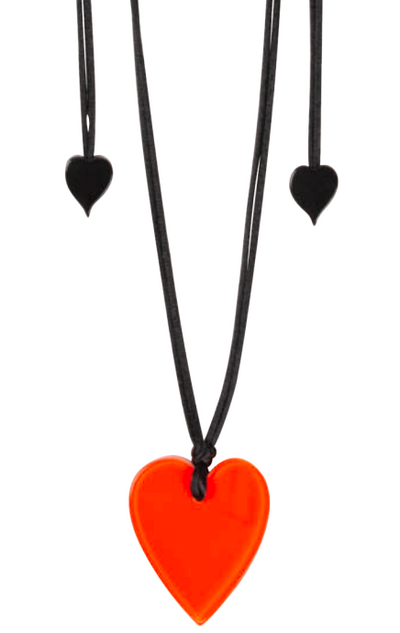 Zsiska Red Heart Pendant Necklace  - A Colourful Statement of Love