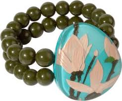 Zsiska Magnolia Turquoise and Green Beaded Bracelet