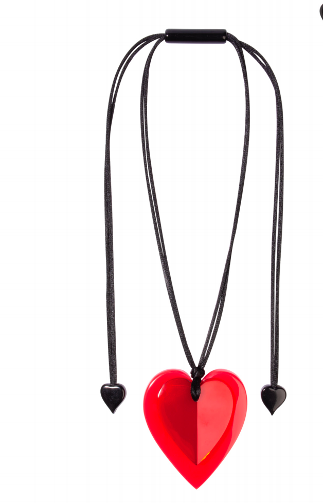 Zsiska Red Jelly Heart Pendant Necklace  - A Colourful Statement of Love